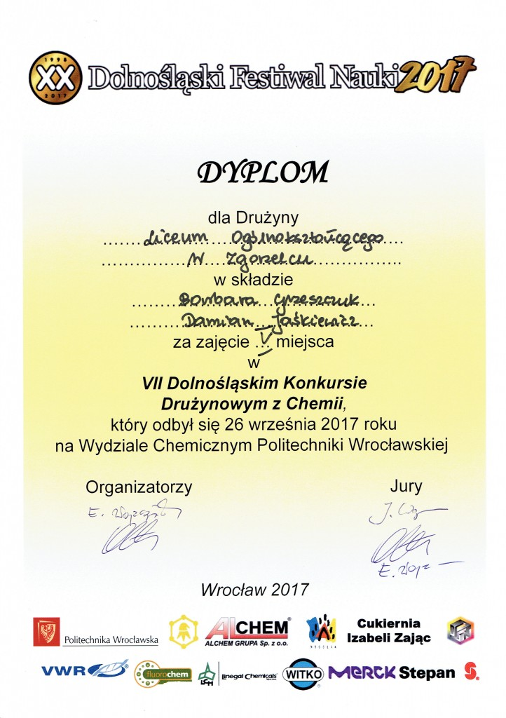VII drużynowy konkurs z chemii 2017 - V miejsce Grzeszczuk, Jaśkiewicz