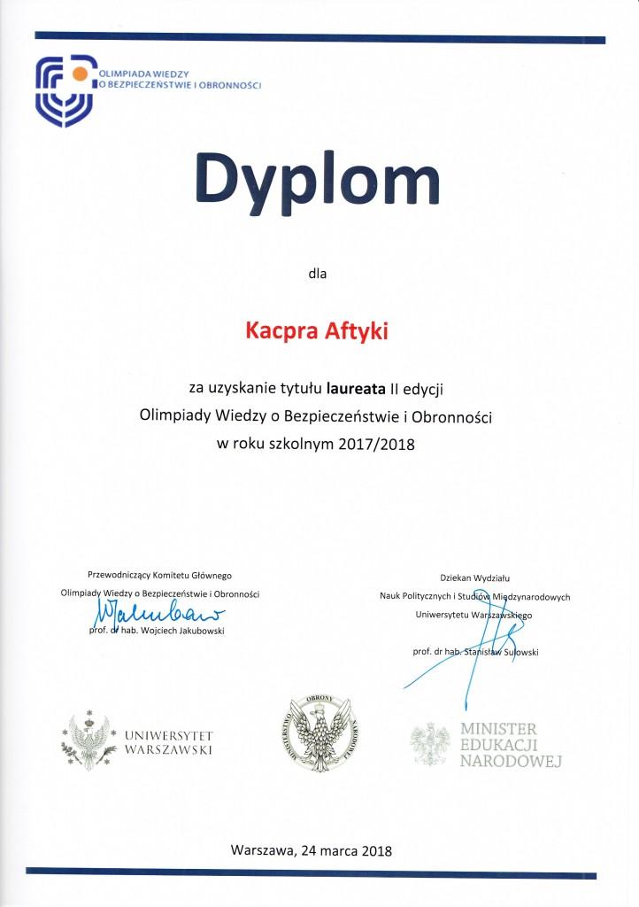 olimpiada wiedzy o bezpieczeństwie i obronności 2017-18 Kacper Aftyka